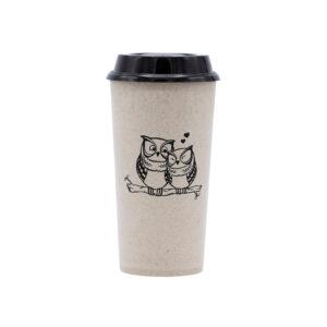 KSAMAH Eco-Friendly Rice Husk Coffee Cup - Owl Design