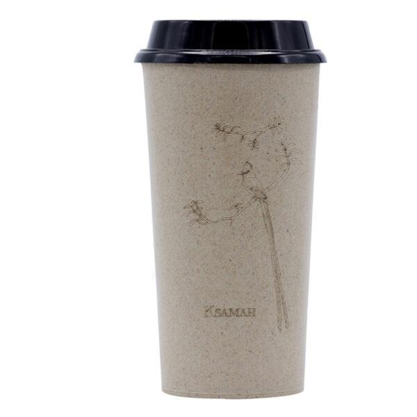 KSAMAH Eco-Friendly Rice Husk Coffee Cup -Paradise Flycatcher