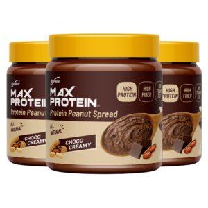 Max Protein Peanut Spread pack of 3- Choco Creamy [340 gm x 3] - High Protein, High Fiber, Gluten Free, Vegan, No Preservatives, All Natural