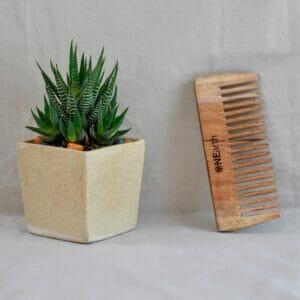 Organic Neem Wood Comb Range - Pack of 1 (Detangling Shower Comb)