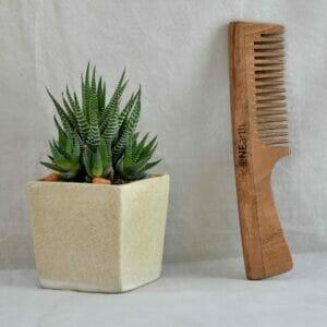 Organic Neem Wood Comb Range - Pack of 1 ( Handle Comb)