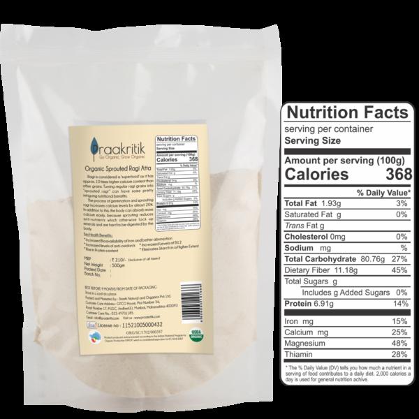 Praakritik Organic Sprouted Ragi Atta (Pack Of 2)