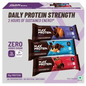 RiteBite Max Protein Daily Assorted Energy Bars, 300g - Pack of 6 (Variety Bars - Choco Classic - 2, Choco Almond - 2, Choco Berry - 2)