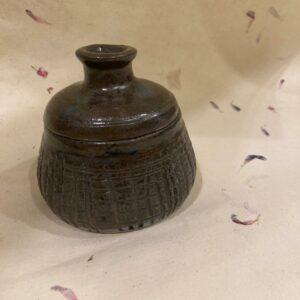 Wheel crafted handmade ceramic jar