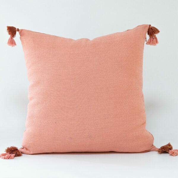 Sierra Blush Double Sided Linen Cushion With Delicate Tassels - 50cm X 50cm