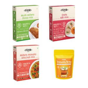 Big Savings: The FittR biTes Combo | Multi Millets Masala Khichdi (250g) + Oats Idli Mix (325g) + Millets Dosa Mix 3900g + Immunity Brew Ayurvedic Kadha Mix (200g)