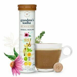 Wellbeing Nutrition Grandma's Kadha- Ayurvedic Kadha for Immunity | Ayush Kwath Herbal Tea (15 Effervescent Tablets)