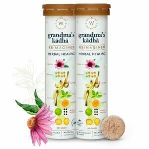 Wellbeing Nutrition Grandma's Kadha- Ayurvedic Kadha for Immunity | Ayush Kwath Herbal Tea (15 Effervescent Tablets) Pack of 2