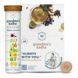 Wellbeing Nutrition Grandma's Kadha- Ayurvedic Kadha for Immunity | Ayush Kwath Herbal Tea (15 Effervescent Tablets) Pack of 6