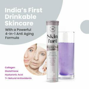 Wellbeing Nutrition Skin Fuel | Skin Radiance, Elasticity, Glow for Men & Women - 90 Effervescent Tabs