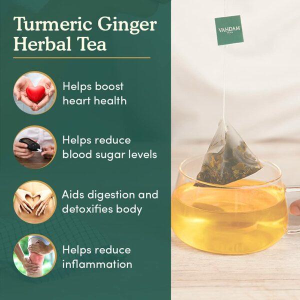 Organic Turmeric Ginger Herbal 50 Tea Bags - Aids Digestion