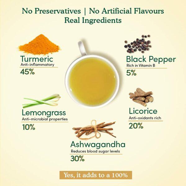 Organic Turmeric Ashwagandha Herbal 15 Tea Bags - Immunity Booster