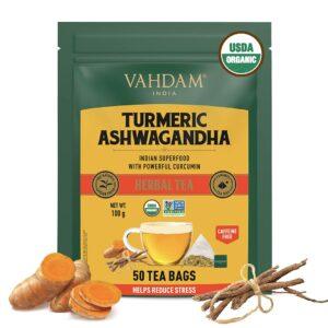 Organic Turmeric Ashwagandha Herbal 50 Tea Bags - Immunity Booster