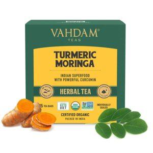 Organic Turmeric Moringa Herbal 15 Tea Bags - Low Caffeine, High Energy