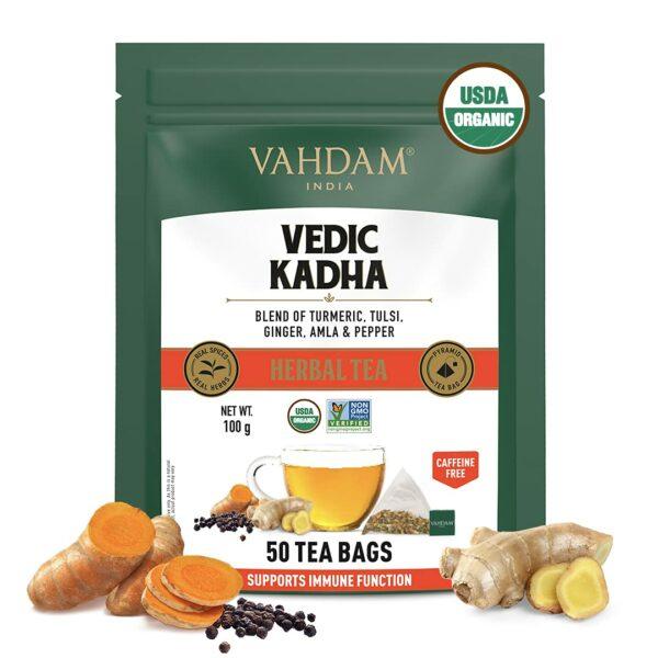 Organic Ayurvedic Herbal Kadha 50 Tea Bags - Good for Cold & Sinus