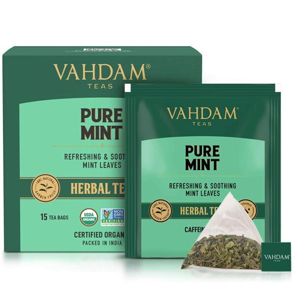 Organic Pure Mint 15 Tea Bags- Refreshing Spearmint & Peppermint Tea Blend