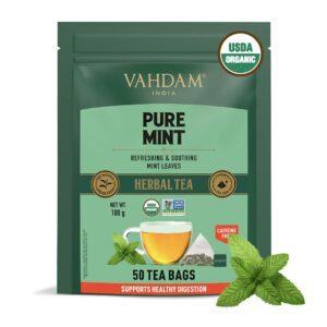 Organic Pure Mint 50 Tea Bags- Refreshing Spearmint & Peppermint Tea Blend