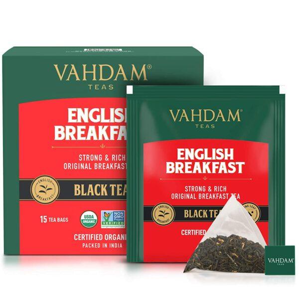 Organic English Breakfast Black 15 Tea Bags - High Energy, Coffee Replacement