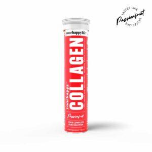 YourHappy Collagen Fizz l 1500 mg Marine Collagen, Hyaluronic Acid, Resveratrol, Selenium, Biotin, Vitamin C & E, l 15 Fizz Tablets Passion fruit