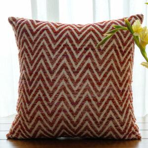 Tara Red Chevron Handmade Cushion Cover - 50cm X 50cm