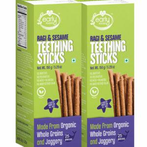 Pack of 2 - Ragi & Sesame Jaggery Teething Sticks 150g X 2, Kids Snack Combo