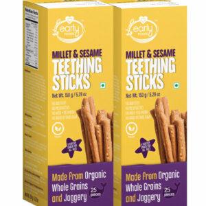 Pack of 2 - Millet & Sesame Jaggery Teething Sticks 150g X 2, Healthy Children Snack Combo