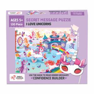 Chalk and Chuckles I Love Unicorns Jigsaw Puzzle-Secret Message 100 pc Puzzle
