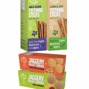 Assorted Pack of 4 Organic Kids Snacks (Ragi & Ajwain Sticks + Jowar & Amaranth Cookies)