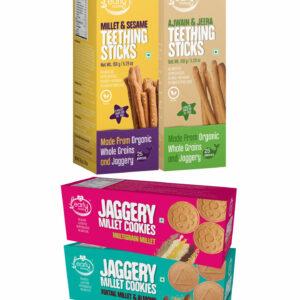 Assorted Pack of 4 Organic Kids Snacks (Millet & Ajwain Sticks + Multigrain & Amaranth Cookies)