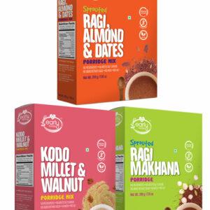 Combo of 3 Organic Millet Porridges - Dinner Cereal Combo for Kids