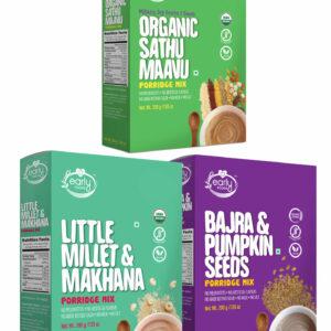 Combo of 3 Organic Millet Porridges - Breakfast Cereal Combo for Kids