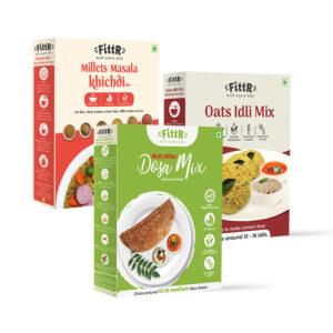 Healthy Breakfast Ready to Cook Combo | Multi Millets Masala Khichdi 250g + Oats Idli Mix 325g + Multi Millets Dosa Mix 300g each