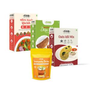 Big Savings: The FittR Combo | Multi Millets Masala Khichdi 250g + Oats Idli Mix 325g + Multi Millets Dosa Mix 300g + Immunity Brew Ayurvedic Kadha Mix 200g each