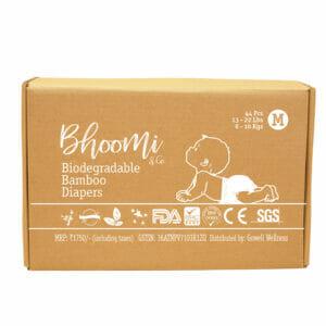 Bhoomi & Co Bio-Degradable Bamboo Baby Diapers 44 Count Medium