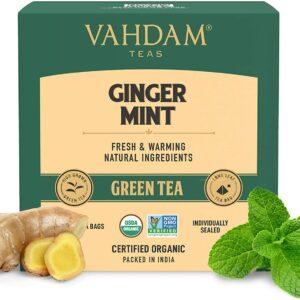 Organic Ginger Mint Green 15 Tea Bags- Antioxidant Rich & Relaxing Detox Tea