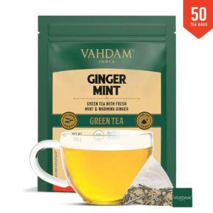 Organic Ginger Mint Green 50 Tea Bags- Antioxidant Rich & Relaxing Detox Tea