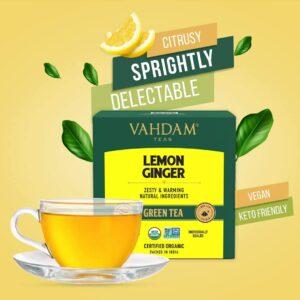 Organic Lemon Ginger Green 15 Tea Bags - Vitamin C Fortified