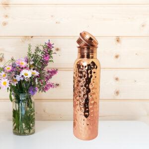 Copper Water Bottle - 750 ML ( Hammered Design )