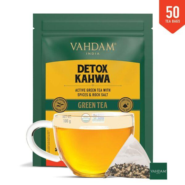 Organic Detox Kahwa Green 50 Tea Bags- Ayurvedic Kahwa for Cold Relief