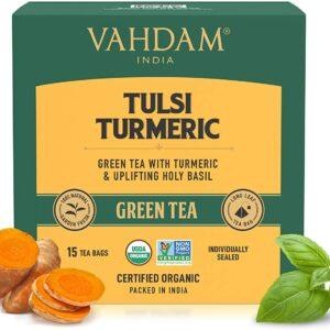 Organic Tulsi & Turmeric Green 15 Tea Bags - Immunity Booster