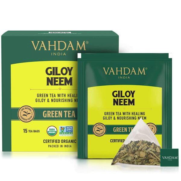 Organic Giloy Neem Green 15 Tea Bags - Detox Tea for Weight Loss & Immunity