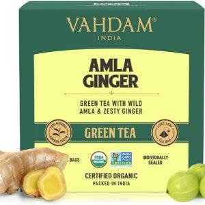Organic Amla Ginger Green 15 Tea Bags - Vitamin C, Digestive Health Drink