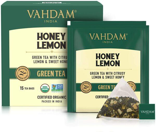 Organic Honey Lemon Green 15 Tea Bags - Refreshing Vitamin C Infused Tea