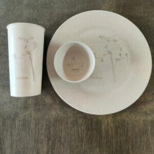 KSAMAH Eco-Friendly Rice Husk Dinnerware (1 Plate, 1 Glass, 1 Bowl)