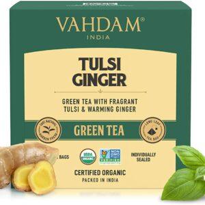 Organic Tulsi Ginger Green 15 Tea Bags- Pure Detox & Digestive Health Drink