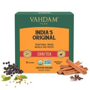 Organic Masala Chai 15 Tea Bags with Cardamon, Cinnamon, Cloves & Black Pepper