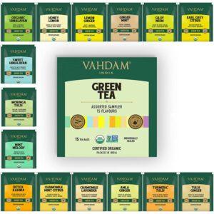 Organic Green Tea Sampler Pack - 15 Top Selling Green Teas for Weight Loss