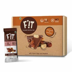 F'iT 15g Whey Protein Bar, Chocolate with Hazelnut | Imported Whey Protein | No Added Sugar | 50g x 6 bars