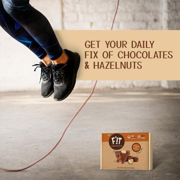 F'iT 15g Whey Protein Bar, Chocolate with Hazelnut   Imported Whey Protein   No Added Sugar   50g x 6 bars