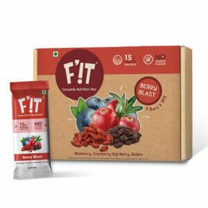 F'iT 15g Whey Protein Bar, Berry Blast | Imported Whey Protein | No Added Sugar | 50g x 6 bars